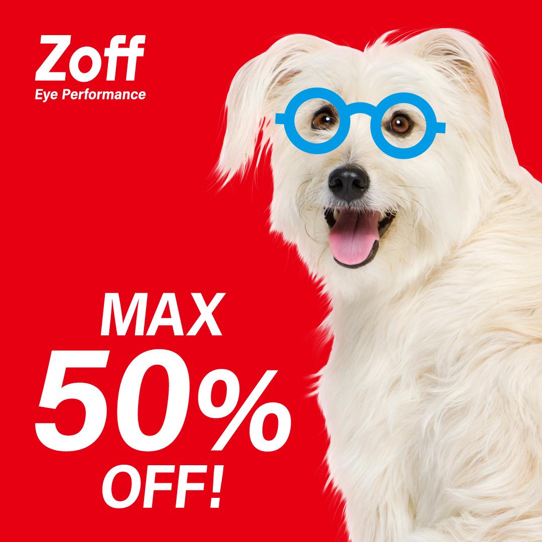 【Zoff】Zoff20周年・お客様還元セール「Z-off SALE」割引率:メガネが最大50%OFF 期間:6/18(金)~8/16(月)